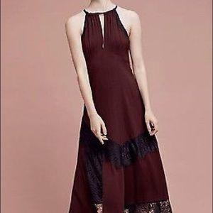 Anthropologie silk halter dress